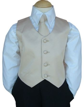 Close-Out Champagne Satin Vest & Bow Tie
