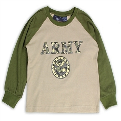 TOBY USA Boys Army Long Sleeve Jersey Tee