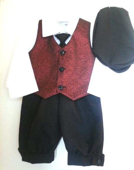 *Exclusive* Holiday Burgundy Jacquard Vest and Black Knickerbocker Set