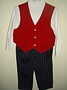 One-Of-A-Kind 3-Pc Red Vest & Plaid Pants Set - Sz 3T