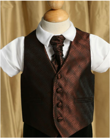 English Vest w Ruche Tie Cravat - Chocolate Brown