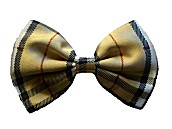 Satin Bow Ties - Gold Plaid