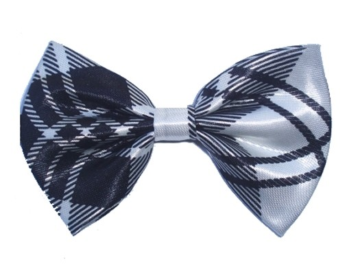 Satin Bow Ties - Black and White Plaid