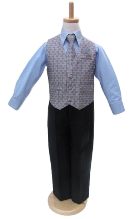 Joey Couture Boys Microfiber Blue / Grey 4 - Piece Vest Set