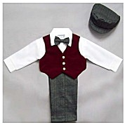 SALE 50% OFF Burgundy Vest Pants 5 - Piece Set