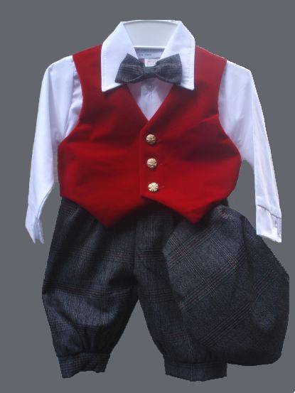 Red Velvet Vest & Gray Plaid Knickers Set
