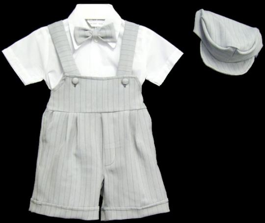 Close-Out Dressy Infant Silver Gray Shortall Set