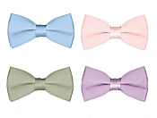Boy's Solid Color Banded Satin Bow Ties / Bowties - Set of 4 Pastel Colors