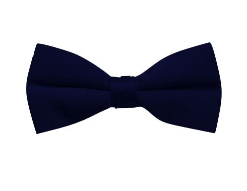 navy clip-on satin bow tie