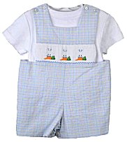 Vive Le Fete Easter Smocked Bunnies Eating Carrots Toddler Boys Jon-Jon Shortall