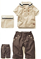DapperLads Boys Cotton Sailor Shirt Bermudas 2 Pc Set