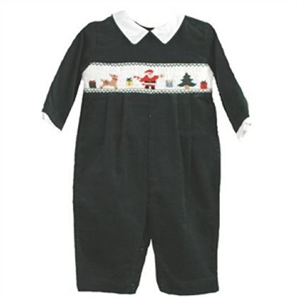 Brother Sister Infant Boy Smocked Holiday Romper