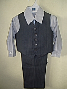 Fouger Gray Pin Stripe 4 - Piece Vest Set - 12 mo