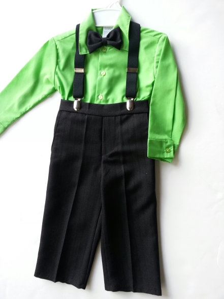 SALE! 4 Pc Suspenders & Pants Set - Lime