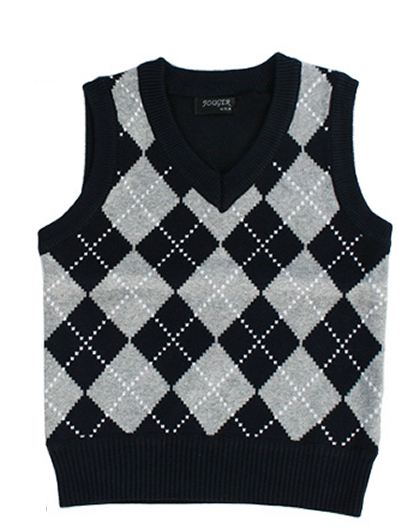 Close-Out Fouger Cotton Argyle Sweater Vest - SZ 12