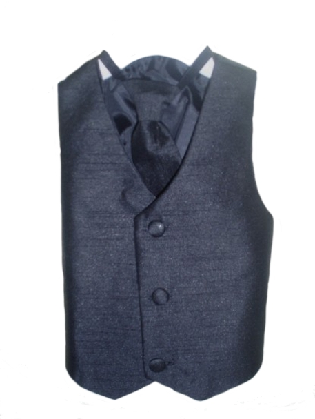 Silk Vest w Wrap Around Long Tie - Black