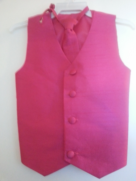 Sale! Silk Vest w Wrap Around Long Tie - Fuchsia