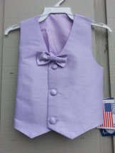 Lito Lilac Silk Vest & Bow Tie Sz 6/7 Plus Flower
