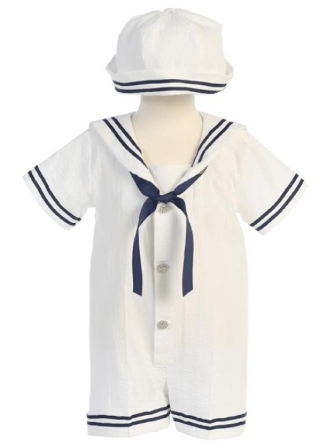 Striped Sailor Seersucker Romper - White