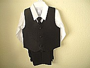 Lito Boys Black Silk 4 Pc Vest Set
