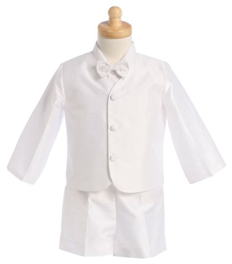 Close-Out Poly Silk Eton Suit in White