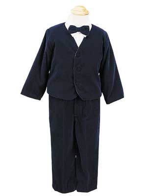 Infant Navy Velvet Eton And Pants