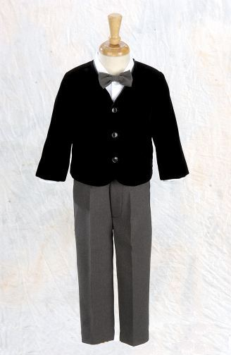 Infant Black Velvet Eton & Slacks 4 - Piece Set