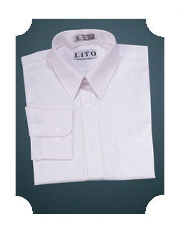 Husky Sizes - White Long Sleeve Dress Shirt