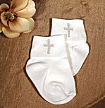 Boy's Christening Socks With Cross