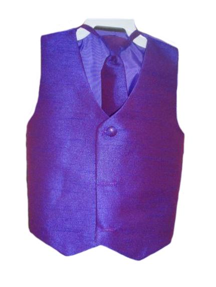 Dapperlads Silk Vest W Wrap Around Long Tie Purple Infants 3