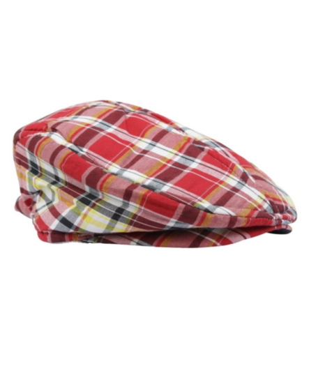 Rugged Butts Red Plaid Newsboy Driver Cap / Hat