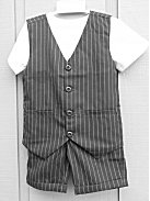 Boys 2-Piece Gray Pinstripe Cotton Vest & Shorts Set