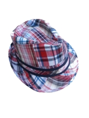 Toddler / Youth Boys Cotton Plaid Fedora - Red
