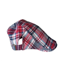 Toddler / Youth Boys Plaid Cotton Golf Driver Cap - Red