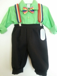 Knickerbockers w Lime Shirt   Rainbow Suspenders Bow Tie - Sz 2 DapperLads  ... bcc9be310