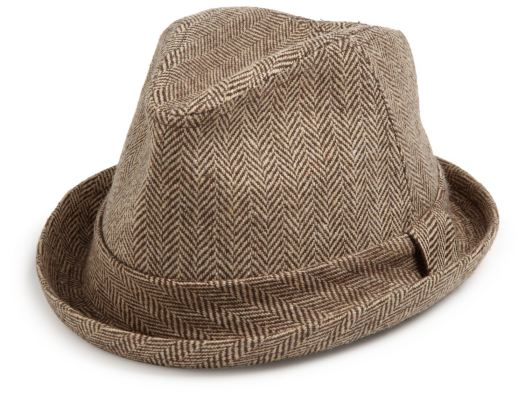 Brown Herringbone Tweed Fedora