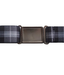 Patterned Magnetic Buckle Elastic Belts - Gray Plaid