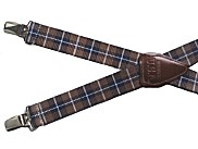 Brown Plaid Elastic Suspenders