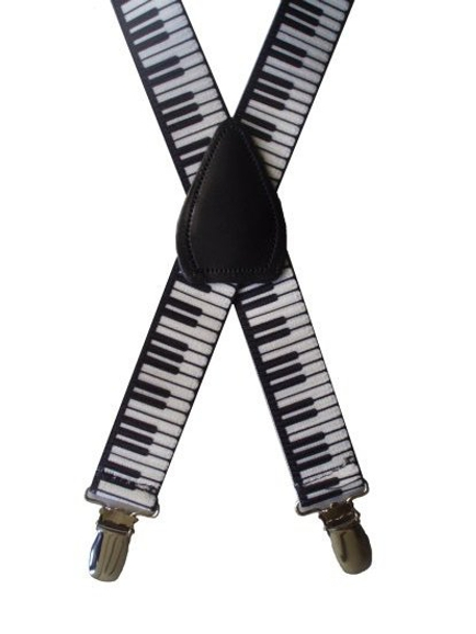 Kids Elastic Suspenders - Piano Keys
