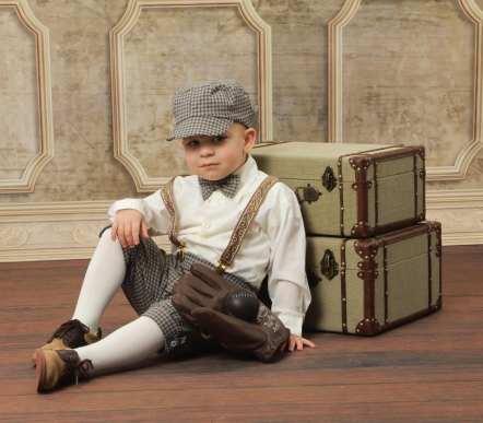 **Clearance Sale!** Retro Checked 5 pc Boy's Knickerbocker Set - 6 mo