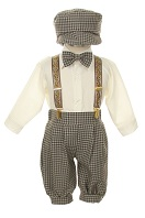 Shannon Kids Toddler Boys Brown Checked Knickerbocker Knicker Set