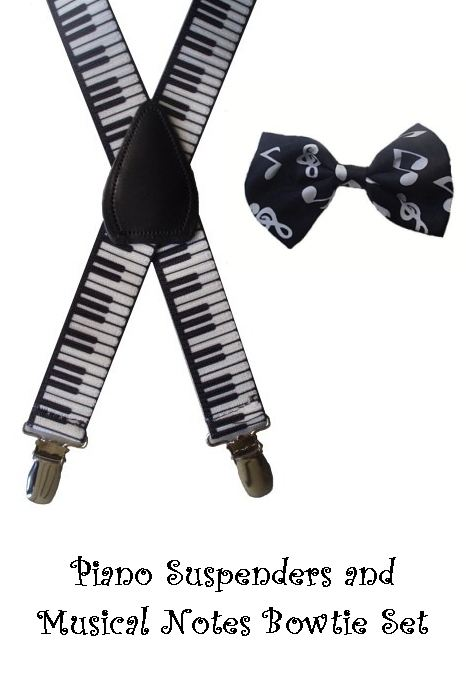 Toddler Bow Tie & Suspenders Set - Piano & Notes