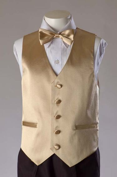 Golden Champagne Satin Vest With Bow Tie & Tie Set SALE