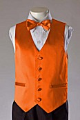 Close-Out Orange Satin Vest - 3 Piece Set - Sz 6