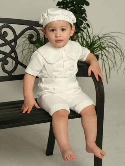 Sale! 3 - Pc Satin Christening Shorts Set 24 mo