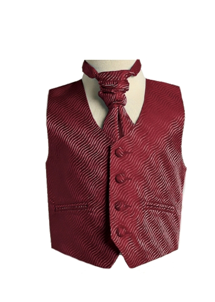English Vest w Ruche Tie Cravat - Burgundy