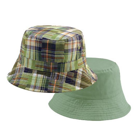 Youth Reversible Olive Plaid Bucket Hat